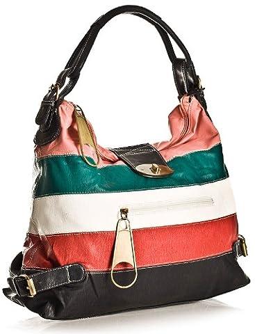 Big Handbag Shop Womens Multi Colour Stripe Faux Leather Large Hobo Shoulder Bag (Design 3)