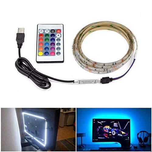 Cimic LED-Strip-Leuchten USB-Fernseher Backlight Bias Beleuchtung mit Fernbedienung. 50cm/19,6inch 2835 RGB Waterproof Light Strips Kit für HDTV, Desktop PC etc.