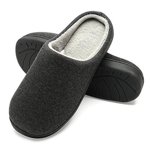 Zapatillas de casa de Hombre, Ultraligero cómodo y Antideslizante, Zapatilla de Estar por casa para Hombre, Negro, Interior: Gris, EU 42-43 (26.5-27CM)