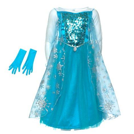 Disney original - Rubies Kinder Mädchen Glanz Kostüm Eiskönigin ELSA mit Handschuhen - Alter 9-10 Jahre