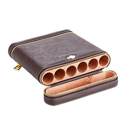 BELLAMORE GIFT Humidor Interieur für Reise Kassette für 6 Zigarren 20.5 X17X4 cm (Dark Brown)