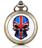 Unendlich U Teschio Union Jack foto medaglione a carica manuale meccanico orologio da tasca quadrante nero scheletro orologio Maglione Collana, entrambe le catene