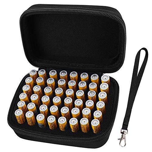 COMECASE Hartschalen-Aufbewahrungsbox für 48 AAA-Batterien (Nicht im Lieferumfang enthalten), Tester und Zubehör - Aaa 48 Batterien