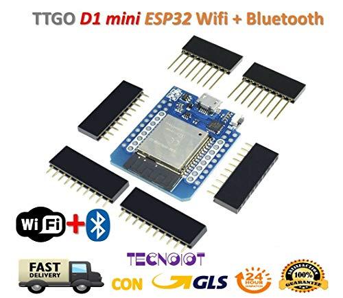 TECNOIOT  TTGO-Wemos-MINI-D1-ESP32-WiFi-Bluetooth-Wemos-D1-Mini-ESP8266-ESP-32-Module