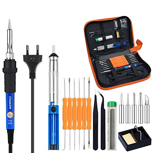 Lötkolben Set, Chosure 17Pcs Lötkolben Kit Soldering Iron Set Lötset 60W Lötstation Temperatur Einstellbar 200°C-450°C