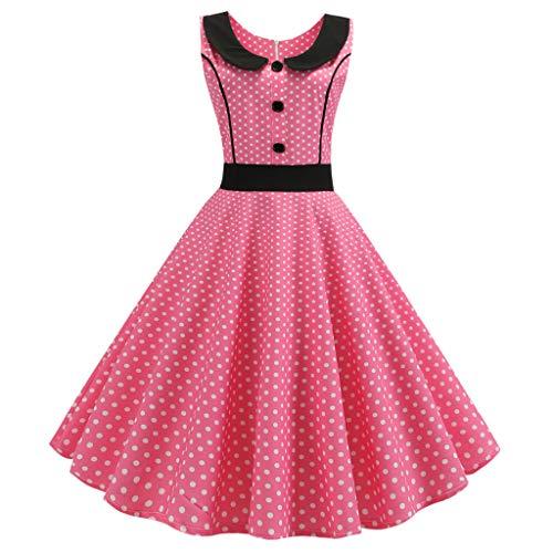 Zegeey Damen Rockabilly Partykleider äRmellose Schulterfrei Plaid Drucken UnregelmäßIgen Kleid Cosplay Ballkleid(W3-Pink,EU-38/CN-L)