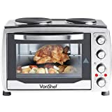 VonShef Large 36L Convection Mini Oven, Grill & Rotisserie with Double Hot Plates includes Baking Tray & Wire Rack - FREE 2 year warranty
