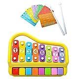Baoblaze 2 in 1 Klavier & Xylophon Glockenspiel Spielzeug 8-Notes Tastatur Mit Musikkarten Kinder Musical Instrument Spielzeug
