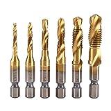 6 Stücke Metrischen Gewindebohrer Halter Titanium Beschichtet HSS Bohrer und Tap Bits 1/4