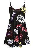 Fashion 4 Less Damenkleid, Cami-bedruckt, in Größen von 34 bis 52 / 54 - Gr. 38-40, Black Comic