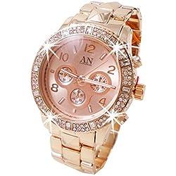 NY London Rose Gold Designer Ladies Diamante Bracelet Watch
