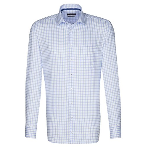 Seidensticker Herren Langarm Hemd Splendesto Regular Fit Business Kent Tape blau/weiß kariert 110430.14 (39, Blau)