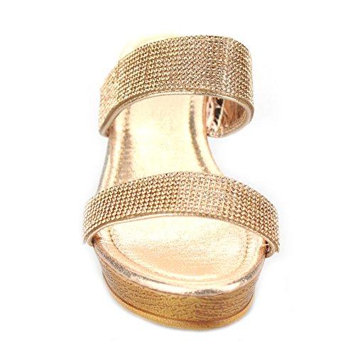 Frau Damen Doppelt Gurt Diamant Schlüpfen Keilabsatz Abend Beiläufig Party Abschlussball Hochzeit Sandalen Schuhe Größe Champagner