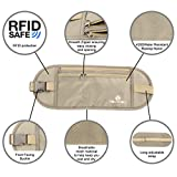 Reise Bauchtasche mit RFID-Blockierung - Geldgürtel Flach - Versteckte Sicherheits Sicherheitstasche - Unter Kleidung Beige von MountFlow -
