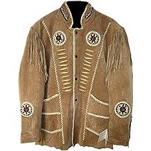 Classyak pour Homme Cowboy Veste avec Franges, Perles et os a215dd1ef40c
