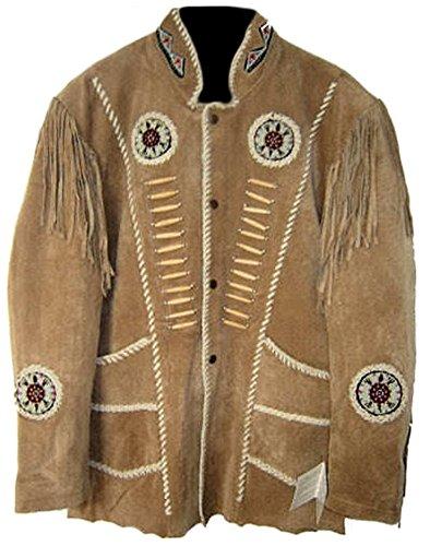 Classyak Hombres de Western Cowboy Chaqueta con Flecos, Cuentas y Huesos