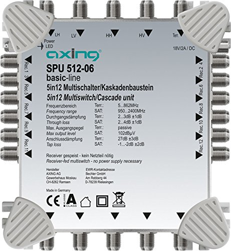 Axing SPU 512-06 Multischalter 5 in 12 Receiver-gespeist Multiswitch-Kaskade erweiterbar Sat Aktiv Hellgrau