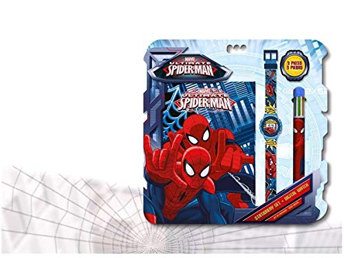 Spiderman - Set con Reloj, Diario y bolígrafo Kids MV92382