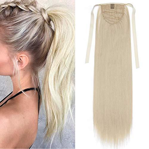 """TESS Ponytail Extension Haarteil Pferdeschwanz Clip in Zopf Haarteil günstig Haarverlängerung Blond Glatt 22\""""(55cm)-90g"""