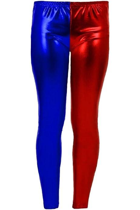 New Womens Red Black Costume Misfit Suicide Squad Metallic Shiny Leggings