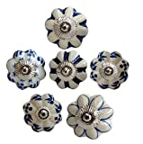 Möbelknäufe 6er Set BLAU Knauf creme Blüten Keramik