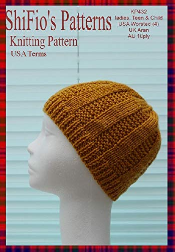 Knitting Pattern-KP432-Ladies, Teen, childs hat beanie-USA Terminology (English Edition) -