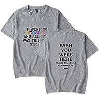 Z-X Americana Personalizada Diseño Tendencia Carta Personalidad Algodón Camiseta Unisex, Gris, l