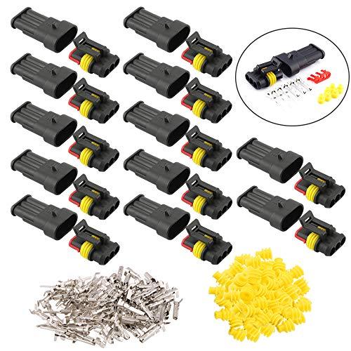 FULARR® 12 Kit Professionale 3 Pin Auto Impermeabile Elettrico Connettore Spina Set, PA66 Nylon Impermeabile Connettore Isolato e Sigillato, per Auto Camion Marina Moto