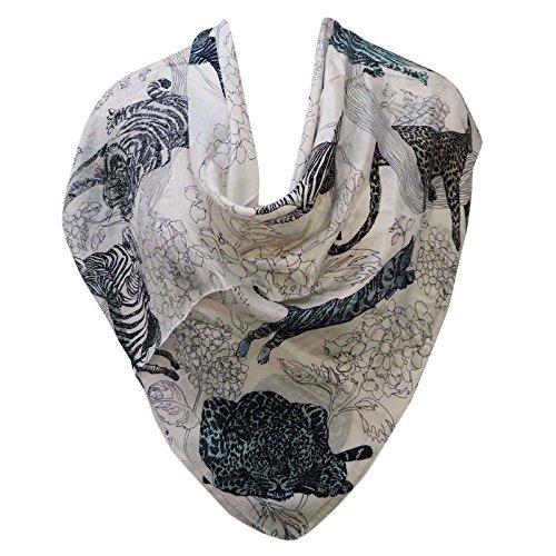 """Foulard en soie pure Hijab Head Neck Wrap Shawl Scarf Sun And Moon Print Stole 40 """"x 40"""" pouces Off Blanc et noir"""