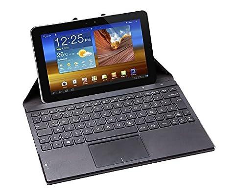 Perixx PERIDUO-880, Bluetooth Tastatur mit Touchpad - Kompatibel mit Windows and Android OS - Multi-touch unter Windows 7 und 8 - Transporthülle mit eingebautem Stand für Tablet und
