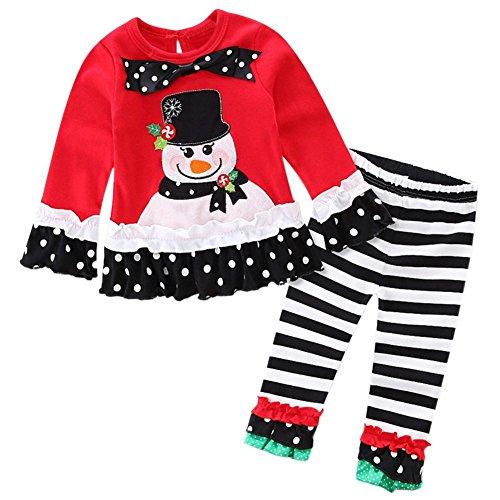 TOOGOO(R) Weihnachten Baby Maedchen Kleider Set T-Shirt + Ruesche Hose Schwarz + Red Schleife Schneemann, 90 Yards (Schneemann Kinder Kleid)