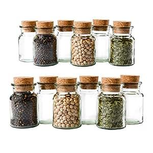 MamboCat Lot de 12 Pots à épices en Verre réutilisables et de avec Fermeture en liège 150 ML