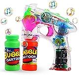 Theefun Pistola de burbujas, Máquina sopladora de burbujas transparente con luces LED, efecto de sonido, baterías y recarga adicional de botellas