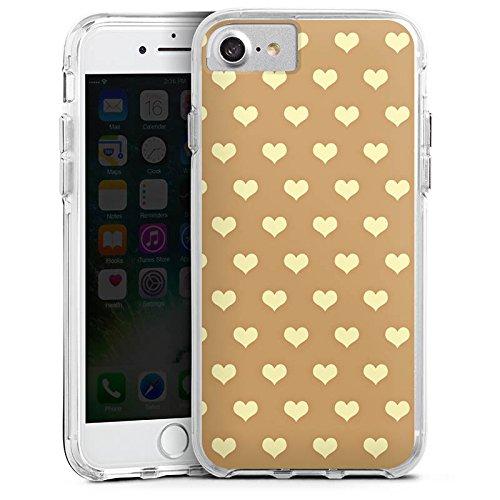 Apple iPhone 7 Plus Bumper Hülle Bumper Case Glitzer Hülle Herzchen Beige Polka Bumper Case transparent