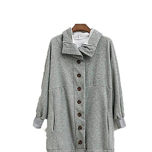 ZQQ Europa non XL donna di inverno maglione di cashmere con cappuccio con coulisse irregolarmente ispessito maglione cappotto Cardigan , xl , gray