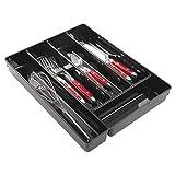 mDesign Rangement Couverts Transparent - Range Couverts Pratique pour tiroir - Rangement tiroir idéal : Cinq Compartiments pour Les ustensiles de Cuisine - en Plastique Durable - Noir
