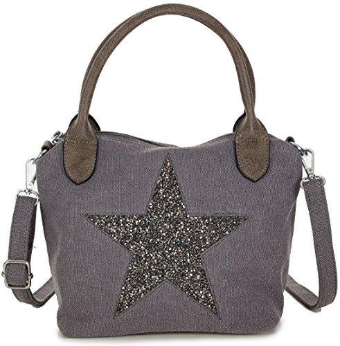 Damen Handtasche mit silber Stern Motiv - Umhängetasche aus Canvas Stoff mit verstellbarem Riemen - in dunkelgrau