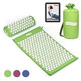 Joyletics Akupressurmatte Set - Tasche Matte & Kissen - Mediation Entspannung Wellnes & Antistress Therapie - Massagematte/Shakti Matte - inkl. E-Book - Maße 66 x 40 x 2,5cm in grün