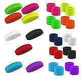 WS Stirnband Headband Schweißband Wristband Sport Fasching Party Neon (Neonpink)
