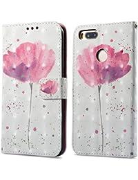 Ooboom® Xiaomi Mi 5X / Xiaomi Mi A1 Funda 3D Magnético Flip Wallet Case Cover Carcasa Piel PU Billetera Soporte para Xiaomi Mi 5X / Xiaomi Mi A1 - Flor Púrpura