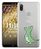 Sunrive Für bq Aquaris X2/X2 PRO Hülle Silikon, Transparent Handyhülle Schutzhülle Etui Case für bq Aquaris X2/X2 PRO(TPU Dinosaurier)+Gratis Universal Eingabestift