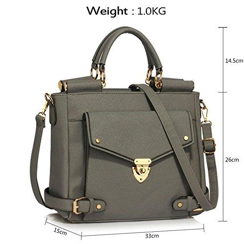 LeahWard® Große Größe oben Griff Kunstleder nett Groß Handtaschen Satchels Taschen 237 A-Grau