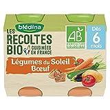 Blédina Les Récoltes Bio12 petits pots Légumes du Soleil Bœuf dès 6 mois (Pack de 6x2 pots)