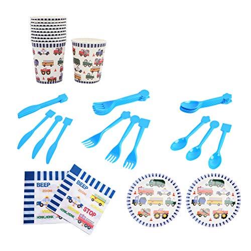 TOYANDONA 70 stücke Birthday Party Supplies Brandbekämpfung Lkw Thema Pappteller Tassen Servietten Besteck Geschirr für Kinder Birthday Party Supplies (Lkw-party-teller)