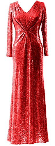 MACloth Women Long Sleeves V Neck Sequin Evening Dress Wedding Party Formal Gown Rot