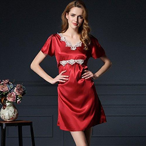 lpkone-Dame sexy dentelle pyjama rouge, de vêtements et de tenues de chemises de soie de luxe en soie taille libre de glace,Camel Wine Red