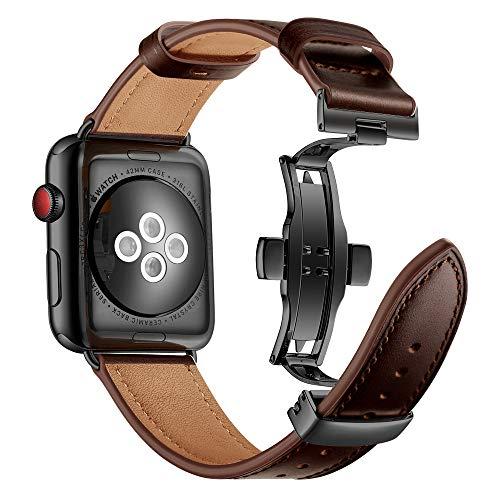 Myada Compatible para Apple Watch 42mm Correa Piel