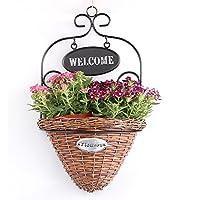 Welcome Handmade decorativa in vimini cestino da parete Casa Giardino da parete con ferro