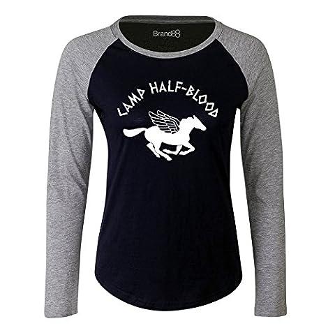 Camp Half-Blood, Damen Langarm Baseball T-Shirt - Blau & Grau