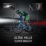 ToHayie Wasserdicht LED Fahrradbeleuchtung Set,Wiederaufladbare Fahrradlicht mit LED Rücklicht, Sicherheits-Taschenlampe,320 Lumen,4 Licht-Modi USB Aufladbare Fahrradlichter -